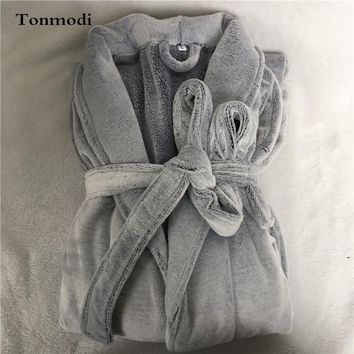 Men's robe winter Thickened flannel Lace robe service High quality gowns Men