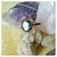 Sky Blue OOAK Electroformed Electroplated Simple Copper Rings sz. 6.5 Bohemian Chic Gemstone Healing Metaphysical Jewelry