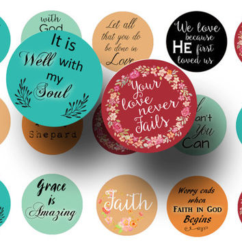 ON SALE Religious sayings 1 inch circles digital download, Christian quotes, Religious quotes printable, Pendants, Key chains, Magnets