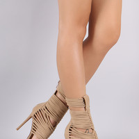 Strappy Suede Open Toe Gladiator Heel