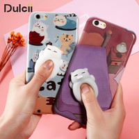 For iPhone 6s 6 7 Plus Phone Case Squishy Case Animal Soft Silicone tpu 3D Cute Cat Back Cover for iPhone 7 Plus 6 Plus Coque