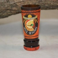 Upcycled Shot Glass from Shock Top Beer Bottles, Unique Glassware, Shock Top Shot Glass