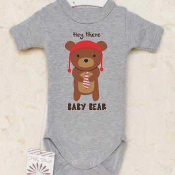 Animal Baby Clothes. Bear Baby Romper. Gender Neutral Baby Clothes. Hey There Baby Bear. Funny Baby Shower Gift.