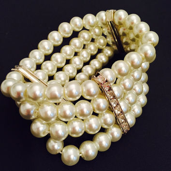 Four Strand Faux Pearl With Rhinestone Spacers Stretch Bracelet