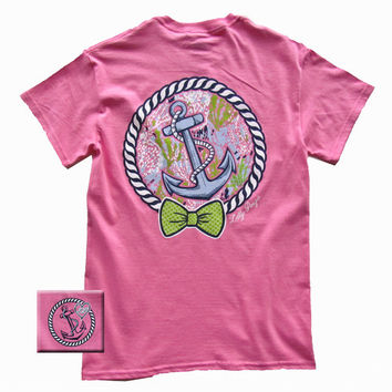 Lilly Paige Preppy Pink Anchor Bow Heart Bjaxx Southern Girlie Bright T Shirt