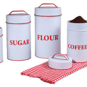 Set of Retro Enamel Canisters