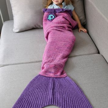 Handmade Flower Ruffles Bedroom Knit Mermaid Blanket Throw For Kids