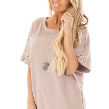 Mauve Short Sleeve Top with Pearl Sleeve Details