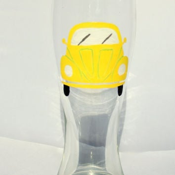 Volkswagen Bug beer glass. Pilsner Beer Glass, Yellow and white. VW car