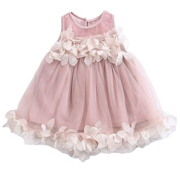 0-7Y Toddler Kids Baby Girls Pricness Bridesmaid Pageant Wedding Tulle Formal Party Dress Lace Floral Mesh Mini Dresses Sundress