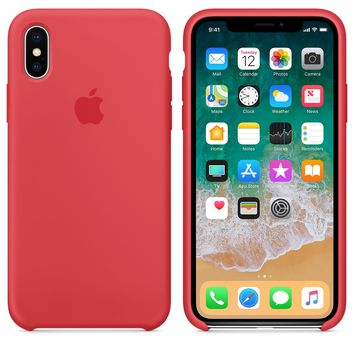 iPhone X Silicone Case - Red Raspberry