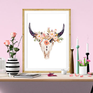PRINTABLE Art Tribal Bullhead Floral Nursery Art Print Bullhead Art Print Bullhead Wall Print Nursery Wall Art Tribal Art Print Pink Tribal