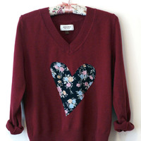 Hand Sewn Floral Printed Heart Valentine's Sweater