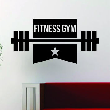 Fitness Gym v2 Design Quote Decal Sticker Wall Vinyl Art Words Decor Workout Weight Dumbbell Inspirational