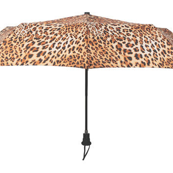 Cheetah Compact Umbrella, Tan/Black, Compact