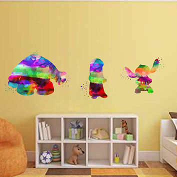 kcik2096 Full Color Wall decal Watercolor Lilo & Stitch Character Disney Sticker Disney children's room