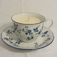 Vintage Noritake Elegance In Blue Japan Teacup Scented Soy Wax Candle
