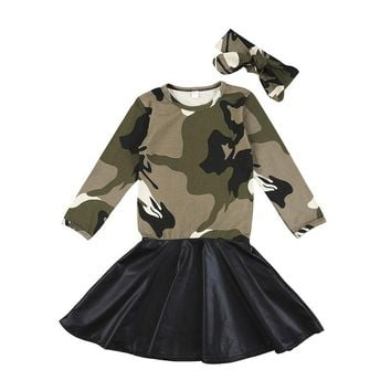 2PCS/Set Fashion Children Girls Outfits Long Sleeve Camouflage PU Leather Patchwork Kids Dress Headband Sundress Clothes