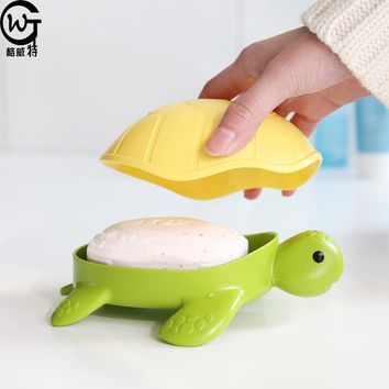 GWT Turtle Soap Holder Plastic Drain Cassette Cute Tortois Tray Dish Drainer Cartoon Shelf Bathroom Non-slip Box with Lid Covers