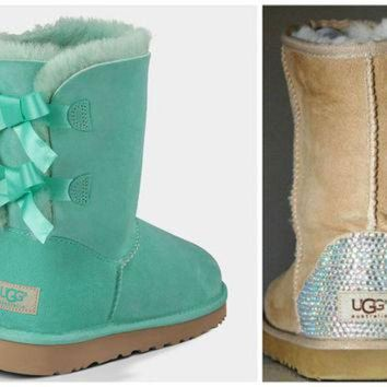 CUPUPS NEW - Ugg Surf Spray Bailey Bow Boots with Swarovski Crystal Bling Boot Heel - Mint Ug