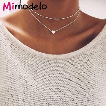2017 New Lovely Style 2 layers Love Heart Adjustable Necklace Multilayer Chain Choker Necklace For Gift 2 Pcs/Set