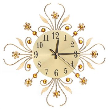 Modern Metal Diamonds Flower Silent Wall Clock 3D Wall Art Office House Living Room Decoration