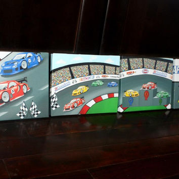 Set of 4 Race Car Boys Racing Bedroom Stretched Canvases Kids Playroom Baby Nursery CANVAS Bedroom Wall Art 4CS014