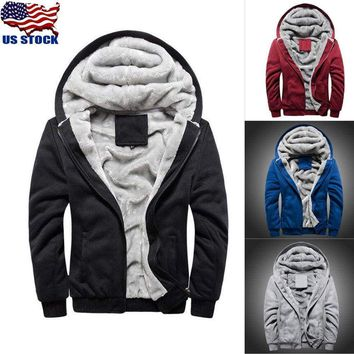 Men Fur Lined Winter Hoodie Jacket Thick Sherpa Fleece Hooded Sweater Coat Parka