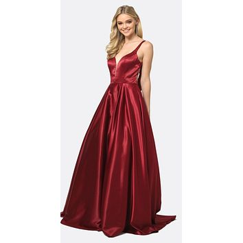 Long Prom Dress Cut-Out Back with Bow Burgundy