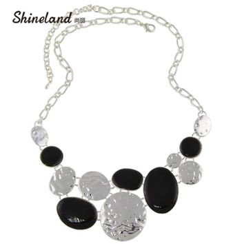 Shineland 2018 New Women Fashion Ethnic Colorful Resins Exaggerated Pendants Chunky Chains Statement Necklaces Jewelry