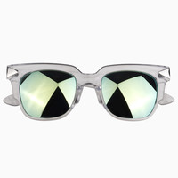 Green Mirror Lens Transparent Frame Sunglasses
