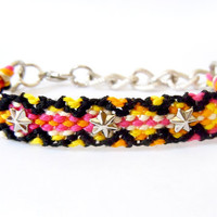 Silver Star Friendship Bracelet (Pink, Yellow, Orange, Black and Cream)
