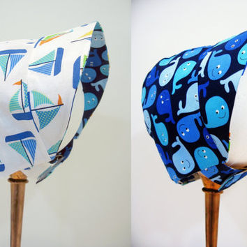 Unisex reversible baby bonnet baby girl baby boy sunbonnet NB to 12 months baby shower gift new baby gift sailboats and blue whales