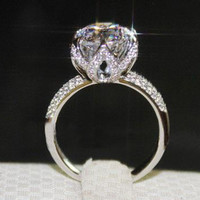 Free shipping! Luxury 4 carat  halo shaped Simulated diamond  Wedding rings for women,100% pure silver Engagement  ring