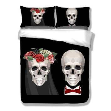 2017 China Luxury Bed Linen Skull Wedding Duvet Cover Black and White King Flower Wedding Calavera Bedding Set Queen Size
