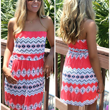 Miami Aztec Print Coral Tube Dress