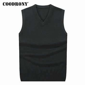 Winter Cashmere Classic Vest Sweater Men Sleeveless Sweaters Solid Color V-Neck Wool Pullovers Men Hombre
