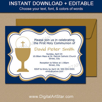 First Communion Invitation Template - EDITABLE Navy & Gold First Communion Invitations - DIY Printable Boy First Communion Invites Download