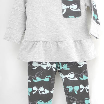 ORGANIC baby Sweatshirt, Grey w. Mint Bows , pocket detailed, RR160, exclusive by luckypalmtree