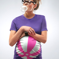 Purple Beach Ball Maternity T-shirt