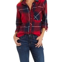 Combo Button-Up Plaid Flannel Shirt by Charlotte Russe