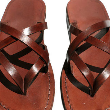 Brown Mixin Leather Sandals - New Collection