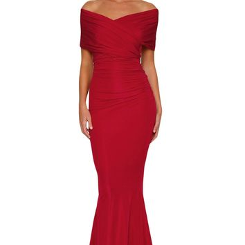 Red Off-shoulder Mermaid Wedding Party Gown