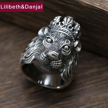 Men Lion Head Ring 925 Sterling Silver Opening Ring Trendy Personality Crown Finger Ring Cool Animal Fine Jewelry Luxury FR61