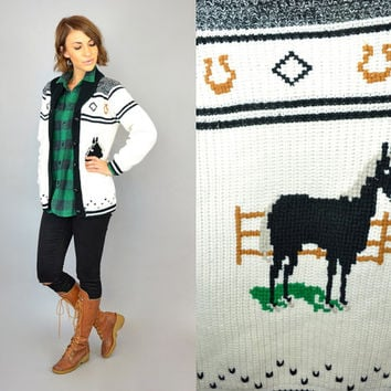 vtg 80's cowichan EQUESTRIAN novelty horse + horsehoe boho hippie diamond knit SWEATER jacket, extra small-small