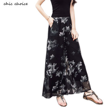 2016 Spring New Chiffon Wide Leg Pants Vacation Casual Woman's Capris Flroal Print Trousers Boho Elastic Waist Feminina Pants