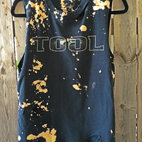 Bleached, tie dyed unisex Medium Tool one of a kind t shirt grunge