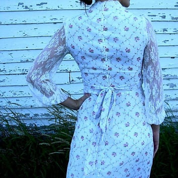 Romantic Vintage Wedding Dress - Satin, Lace & Country Cotton - Medium