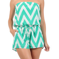 Jade Chevron Romper | Studio 706 Boutique