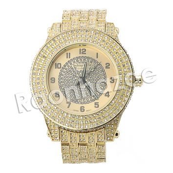 HIP HOP ICED OUT RAONHAZAE BREEZY LUXURY GOLD FINISHED LAB DIAMOND WATCH
